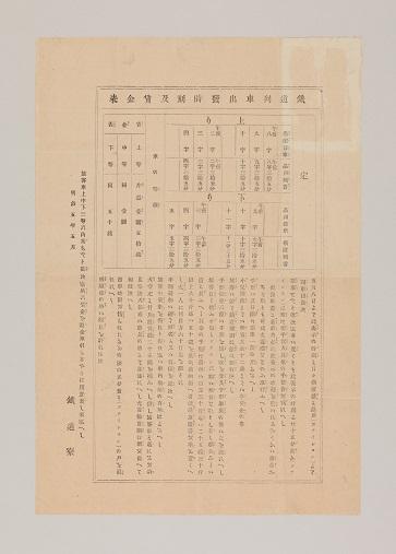 鉄道列車出発時刻及賃金表 | コレクション | 印刷博物館 Printing ...